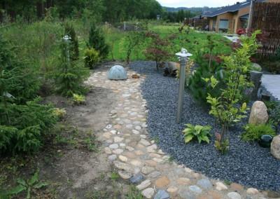 Eksempel på haveanlæg,her med sti udført i pigsten diverse beplantning,vandkunst og bed m granit skærver