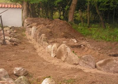 Stendige Jels ,efter bundstenene er sat fyldes der op med jord og sand bag ved stenene og selve opbygning og sætning starter (puslespil for voksne ) :)